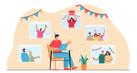 Home celebration via video call flat vector illustration. Man sitting in front of computer with glass of wine, communicating with family and friends online. Quarantine, virtual party, birthday concept