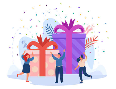 Confetti falling on happy winner in front of giant gift boxes. Loyalty bonus or special reward for good job, birthday present flat vector illustration. Celebration concept for banner, website design Ilustracja
