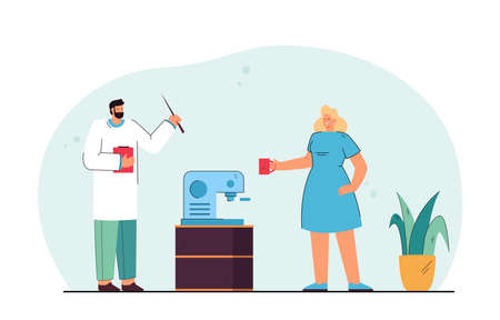 Male doctor and female nurse standing next to coffee machine. Man and woman in uniform having break from work flat vector illustration. Medicine, coffee break concept for banner or landing web page