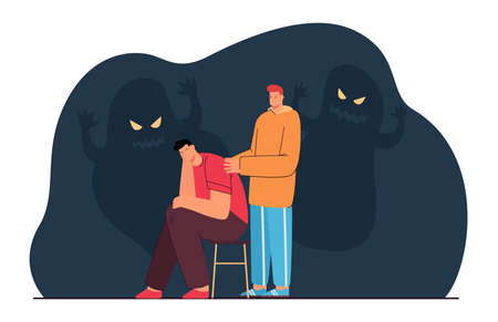 Friend comforting man with anxiety or fear. Character suffering from nightmares, scary shadows flat vector illustration. Mental health, empathy concept for banner, website design or landing web page Ilustracja