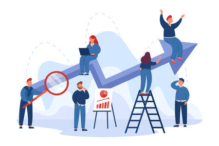 Team of cartoon office people with business plan and up arrow. Performance boost, company progress report flat vector illustration. Success, teamwork, promotion concept for banner or landing web page