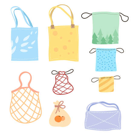 Set of colorful eco bags cartoon vector illustration. Various kits, totes, cotton nets for bulking products made of eco-friendly materials for reusable use. Shopping, zero waste, environment concept Ilustracja