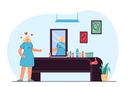 Female cartoon hairdresser looking in mirror. Woman with hairdressing equipment on table, hair salon interior flat vector illustration. Beauty services, fashion concept for banner or landing web page Ilustracja