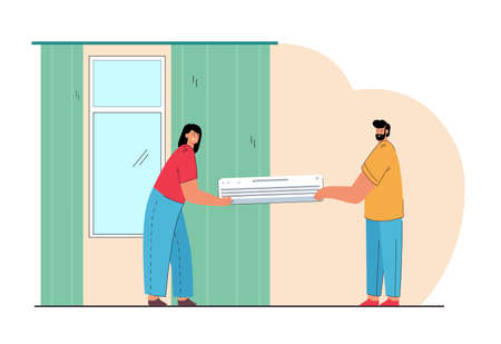 Married couple installing air conditioning system in house. Wife and husband holding air conditioner flat vector illustration. Technology, home appliances concept for website design or landing page