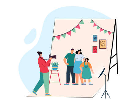 Cartoon photographer taking pictures of parents and kid. Flat vector illustration. Happy mother, father and daughter posing in front of camera in photo studio. Photography, family, shooting concept Ilustracja