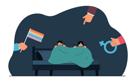 Girls hiding from hands holding rainbow flag and female symbol. Society threatening scared lesbian women flat vector illustration. LGBT, bullying concept for banner, website design or landing page Ilustracja