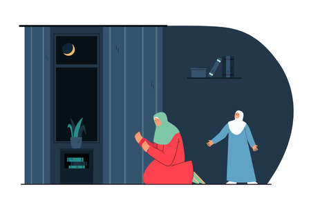 Muslim woman praying on knees in room with daughter at night. Female Arab characters praying to Allah flat vector illustration. Islam, religion, Ramadan concept for website design or landing web page Ilustracja