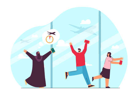 Travelers with plane tickets running late for departure. Muslim and European characters missing flight in airport flat vector illustration. Traveling, transportation concept for banner, website design Ilustracja