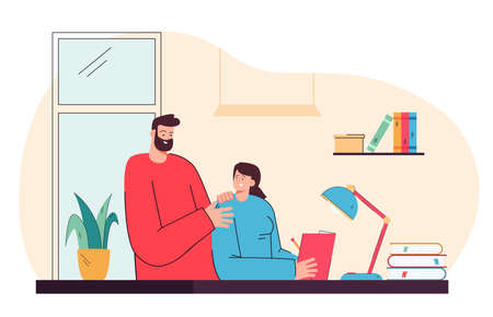 Father helping daughter with her homework. Flat vector illustration. Dad teaching child at home, answering questions, reading book with girl, sitting at desk. Family, help, education, learning concept