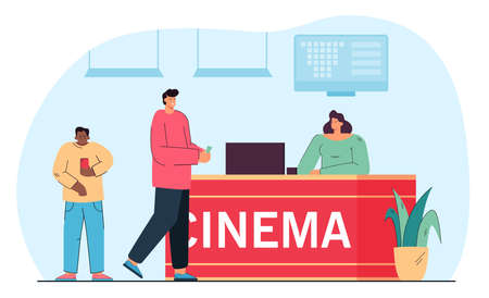 Cinema counter and people buying movie tickets. Flat vector illustration. Female seller standing at cashier while serving customers. Cinema, entertainment, fun, service concept for advertising Ilustracja