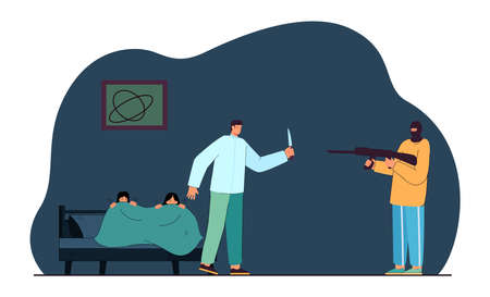 Burglar in mask pointing gun at brave father with knife. Man protecting family from criminal flat vector illustration. Crime, security, burglary concept for banner, website design or landing page