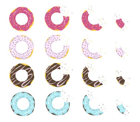 Multicolored donuts with glaze, varying degrees of eaten. Cartoon vector illustration. Set of strawberry and chocolate ring-shaped dough snacks, top view. Food, cake, sweet shop concept for design