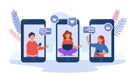 Mobile screens with characters using networking app. Happy people sharing experiences, candidate and employer talking via online service flat vector illustration. Communication, job interview concept Ilustracja