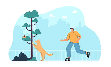 Cartoon dog owner on roller skates in park. Puppy looking at bird nest in tree flat vector illustration. Outdoor activity, healthy lifestyle, pets concept for banner, website design or landing page Ilustracja