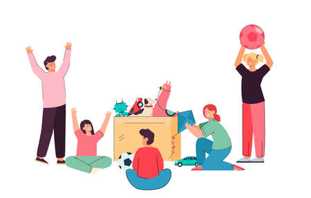 Kids of different age playing with box full of toys. Flat vector illustration. Cartoon boys, girls having fun with kite, ball, toy robot, cars on white background. Playtime, friendship, game concept