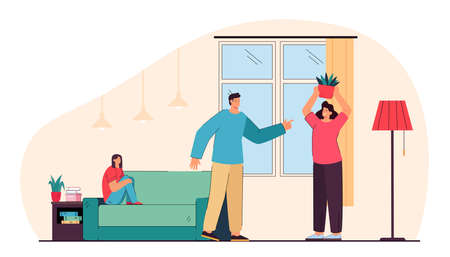 Parents arguing in front of daughter. Flat vector illustration. Family couple having relationship problems, quarrelling at home, angry wife throwing flower pot. Family, relationship, divorce concept
