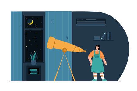 Cartoon girl looking through telescope in room at night. Cute kid watching moon and stars flat vector illustration. Astronomy, space, education concept for banner, website design or landing web page