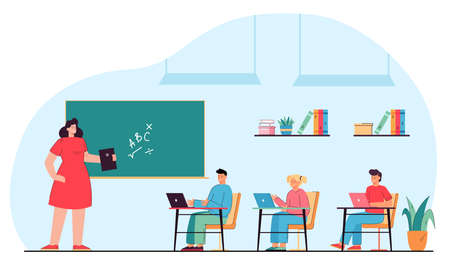 Children using gadgets during math lesson in classroom. Flat vector illustration. Kids with laptops on desks listening to teacher, talking and holding tablet. Technology, education, school concept Ilustracja