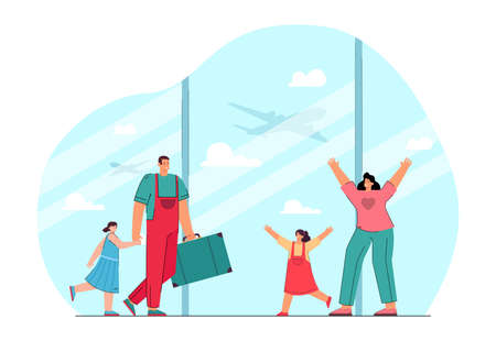 Happy mother and daughter meeting father and child at airport. Man and girl coming home after holiday flat vector illustration. Family, traveling concept for banner, website design or landing web page Ilustracja