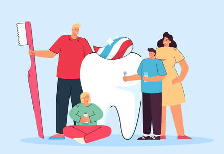 Happy tiny family and giant white tooth. Flat vector illustration. Mother, father and kids caring about big molar, brushing it with paste. Dental care, stomatology, health, family concept for design