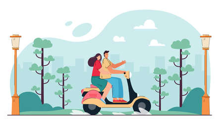 Happy couple riding motorbike in city park. Flat vector illustration. Young man and woman travelling by moped or scooter, enjoying summer nature together. Romance, trip, vehicle, holiday concept