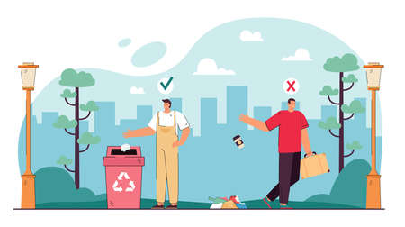 Contrasting behavior of people throwing out trash. Flat vector illustration. Man throwing garbage on street past can and guy disposing of litter correctly. Environment, pollution, ecology concept