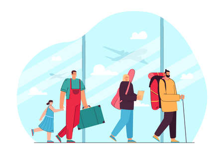Queue of cartoon people with baggage in airport. Father and daughter, woman and man arriving to destination flat vector illustration. Traveling, vacation concept for website design or landing web page Ilustracja