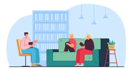 Cartoon mom and daughter visiting psychologist. Flat vector illustration. Adult woman and child sitting on sofa talking with specialist. Psychotherapy, psychology, help, meeting, family concept Ilustracja