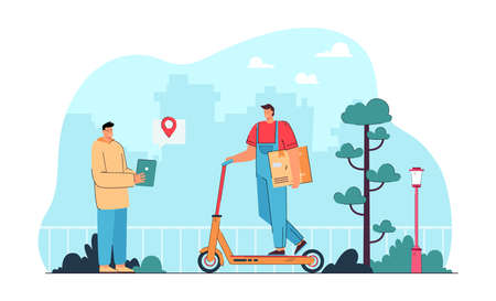Courier on electric scooter delivering box to customer. Man in uniform on personal transport flat vector illustration. Delivery, transportation concept for banner, website design or landing web page