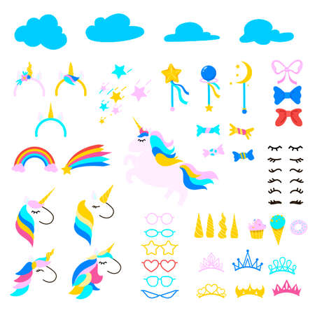 Set of unicorn symbols cartoon vector illustration. Collection of drawings of magic ponies, horns, eyelashes, glasses, stars, rainbows, crowns. Party, animal concept for print, card, sticker design