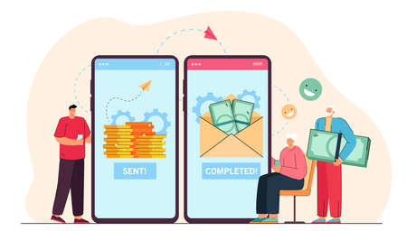 Adult son sending money to elderly parents online. Flat vector illustration. Giant smartphones with bank app and tiny people transferring money via Internet. Family, payment, care, money concept Ilustracja