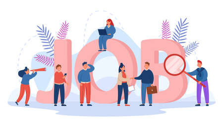 Tiny people searching for business opportunities. Interview with company supervisor, word job in background flat vector illustration. Employment, HR concept for website design or landing web page