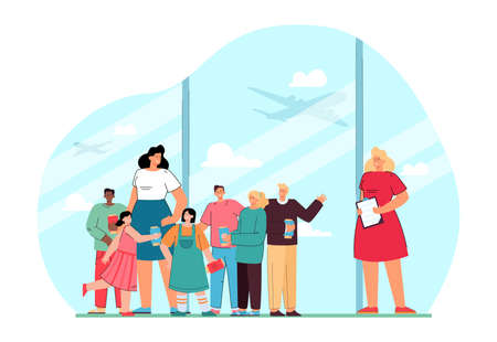 Female cartoon teacher with students in airport. Woman and children with plane tickets on school trip flat vector illustration. Education, traveling concept for banner, website design or landing page