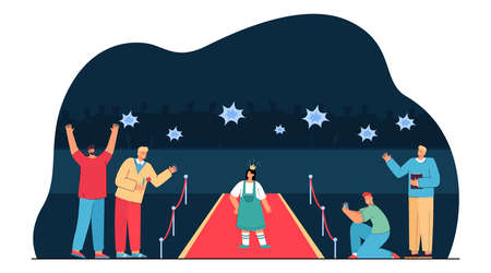 Paparazzi taking photos of girl in crown standing on red carpet. Young celebrity or actress and male fans flat vector illustration. Success, lifestyle concept for website design or landing web page