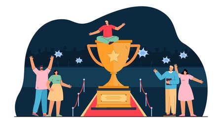 Cartoon man sitting on huge gold trophy cup on red carpet. Happy business people celebrating victory flat vector illustration. Success, teamwork concept for banner, website design or landing web page