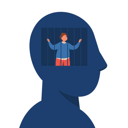 Enslaved business man with lack of creative freedom of thought. Powerless person in mind or brain prison flat vector illustration. Slavery, depression, censorship. Vetores