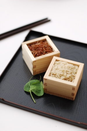 Red and brown rice in square containers