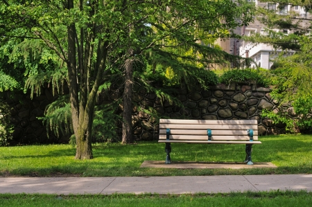 Bench in the park, Baldwin steps, Toronto Stock Photo