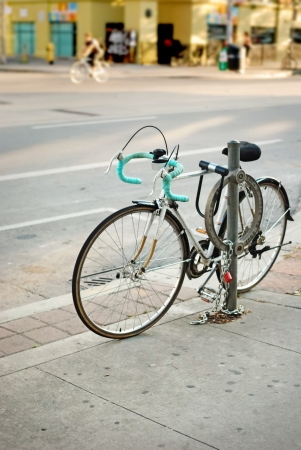 Vintage bicycle parked on the street in Toronto