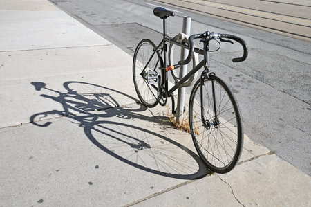locked up: Bicycle locked up on the street in Toronto