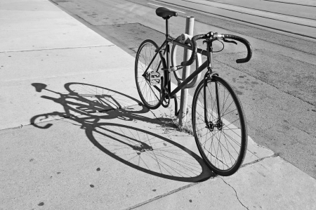 locked up: Single-speed bicycle locked up on the street in Toronto