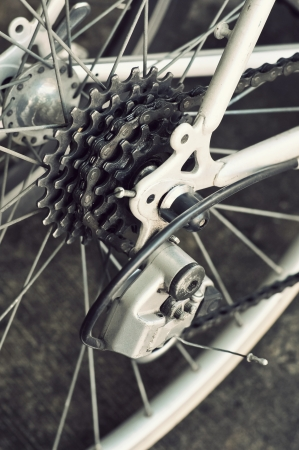 Rear racing bike cassette on the wheel with chain photo