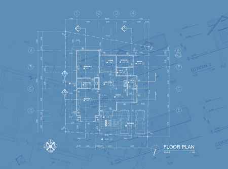 Overlay of house blueprint   floor plan, elevations and washroom detail Stock Photo