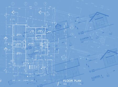 detai: Overlay of house blueprint   floor plan, elevations and washroom detai Stock Photo