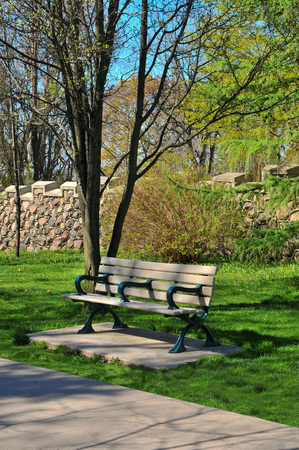 colouration: Bench in the park, Baldwin steps, Toronto Stock Photo