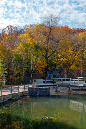 Pond in Don Valley Brick Works Park, Toronto Stock Photo
