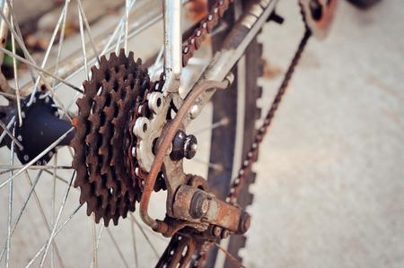 gearwheel: Dirty bicycle of rear sprocket wheel Stock Photo