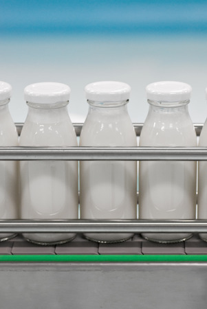 Conveyor with glass bottles filled with milk products photo