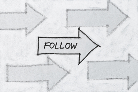 Concept of social media, follow arrow icons sketched on white