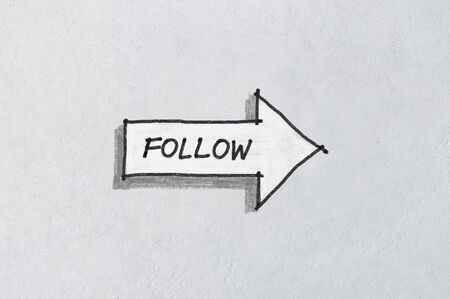 Concept of social media, follow arrow icon sketched on white